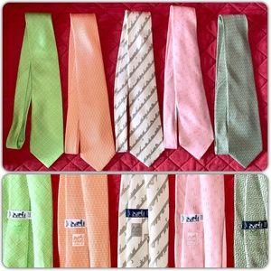 SOLD! Hermes Mens Ties 100% Silk Tie Lot of 5
